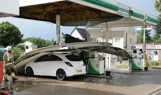 Petrol station cannopy collapses after downpour