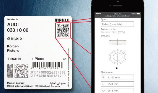 Mahle add QR codes to product packaging