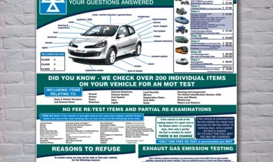 The MOT Test – Customer Information Wall Panel