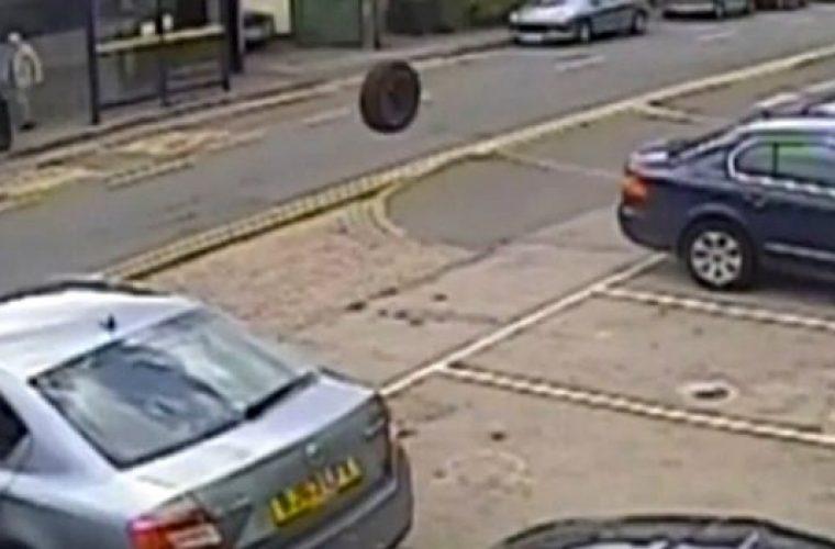 Video: Mechanics lucky escape from runaway wheel