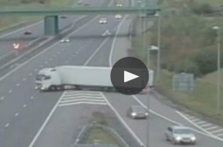 Video: Lorry driver's U-turn onto M6