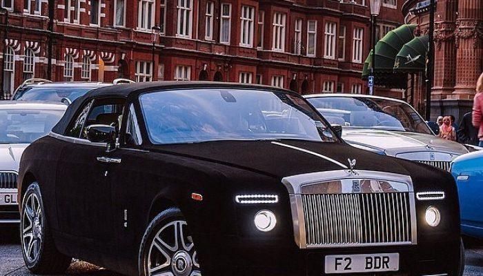 Black velvet Rolls Royce spotted out shopping