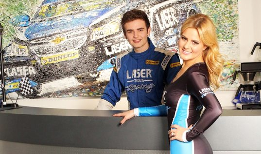 Samantha is Laser Tools Racing grid girl for 2015 BTCC