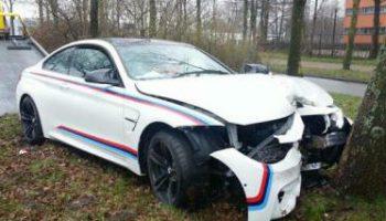 BMW dealer crashes M4 coupe