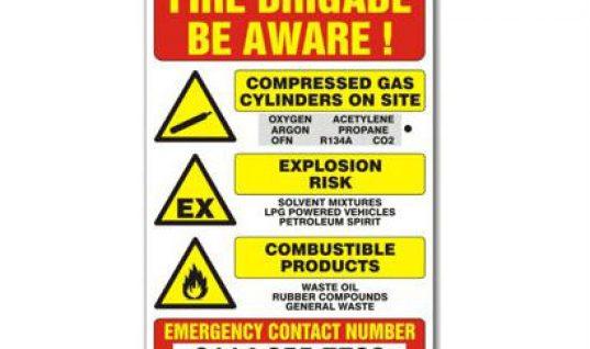 Prosol UK fire hazard warning sign