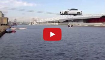 Video: Jaguar XF high-wire stunt over London's Docklands