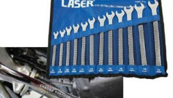 Extra long combination spanner set from Laser Tools