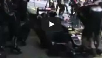Video: F1 jackman sent flying in pit-lane collision