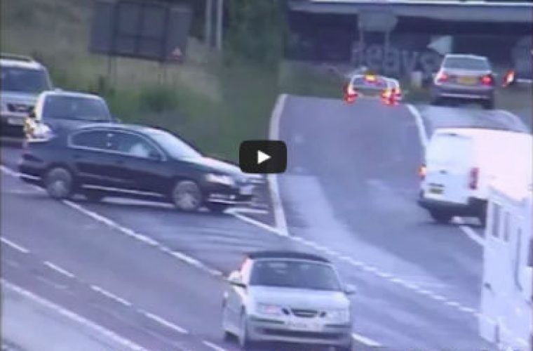 Video: dozens casually drive wrong way down M1 slip to avoid tailbacks