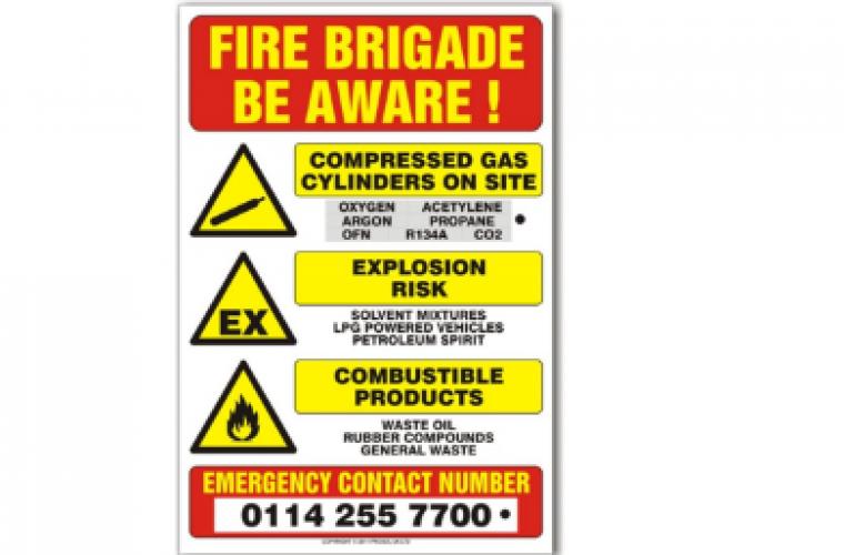 Fire Brigade Warning Sign From Prosol Garagewire