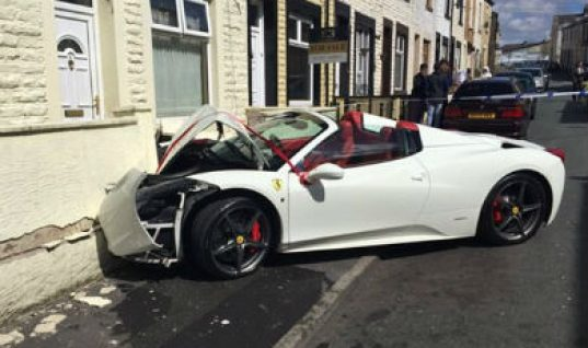 Tyre fitter tries to impress his bride with rental Ferrari but crashes
