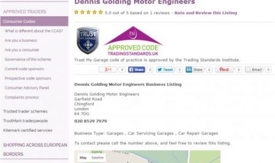 Trust My Garage members benefit from Trading Standards listing