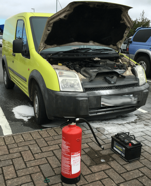 Halfords apologises after 'expert fitter' sets van on fire