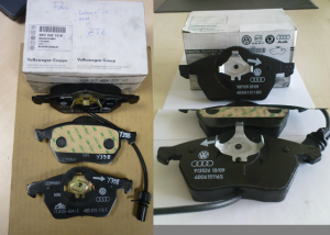 Left image shows a counterfeit part compared to the genuine TMD packaging and parts on the right.