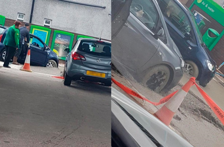 Cars get stuck in wet concrete at petrol station