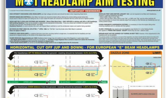 MOT headlamp aim testing poster at Prosol
