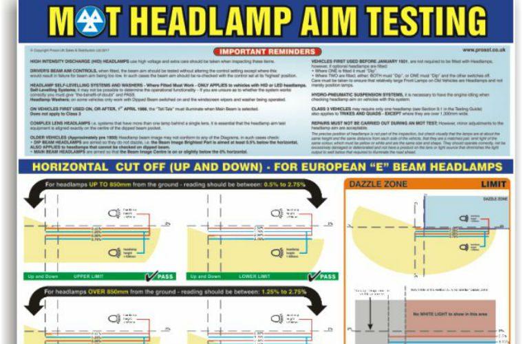 MOT headlamp aim testing poster at Prosol