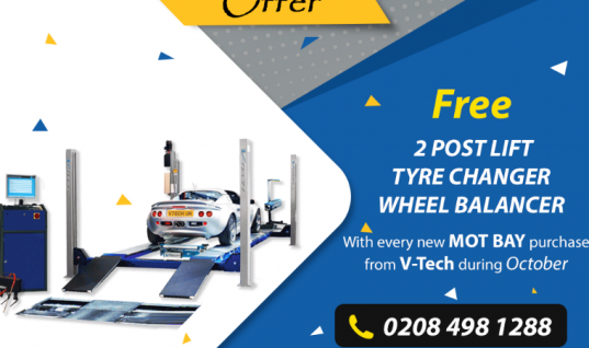 Free two post lift, tyre changer and wheel balancer from V-Tech