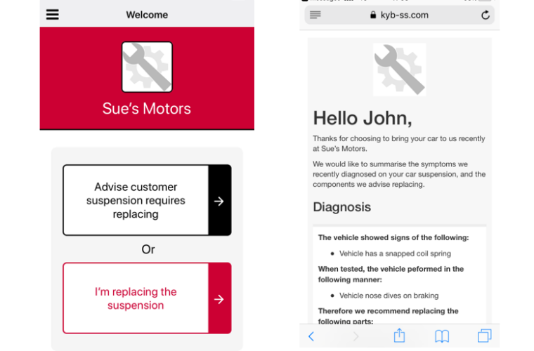 New KYB suspension solutions app helps garages explain faults to customers