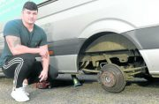 DIY mechanic has lucky escape after jack fails and van falls on top of him