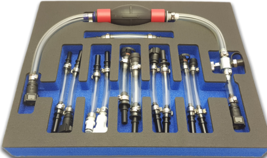 Comprehensive 12 piece diesel fuel line priming set from Angry Jester