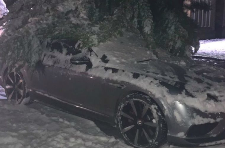 Parking blunder as Michael Owen returns to his Bentley buried beneath snow-covered tree