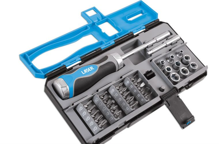 Laser Tools versatile ratchet screwdriver and accessories