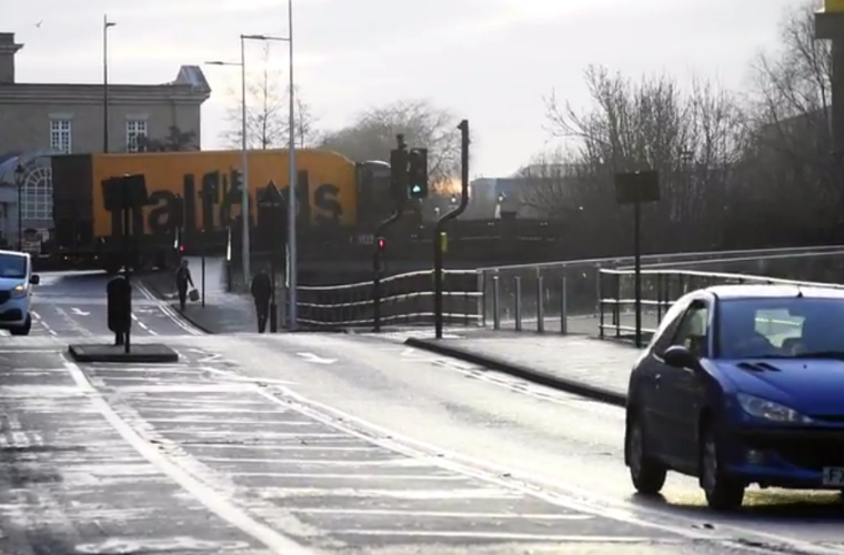Watch: Halfords lorry drives wrong way down one-way street