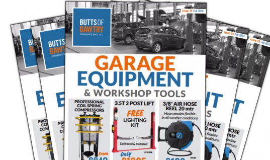 Garage equipment and workshop tools brochure released by Butts of Bawtry