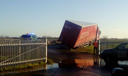 "Lorry careers off ""Britain's worst road"" and gets stuck in ditch"