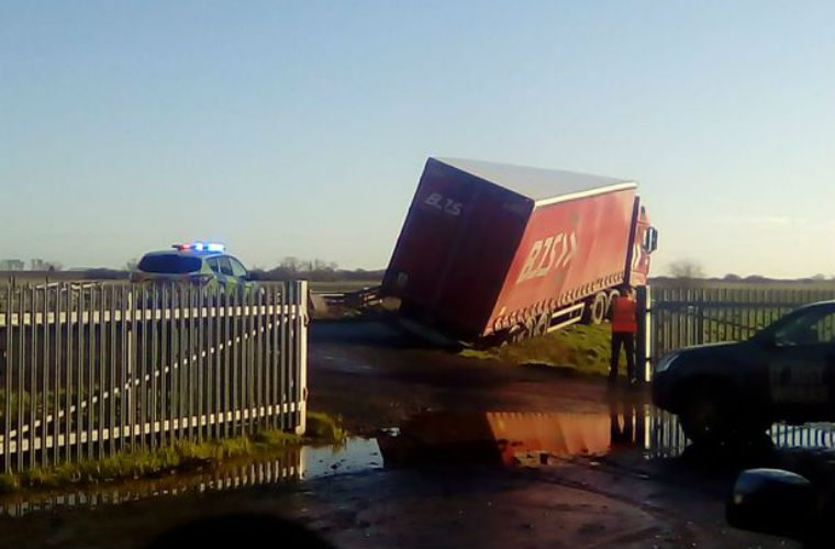 """Lorry careers off """"Britain's worst road"""" and gets stuck in ditch"""