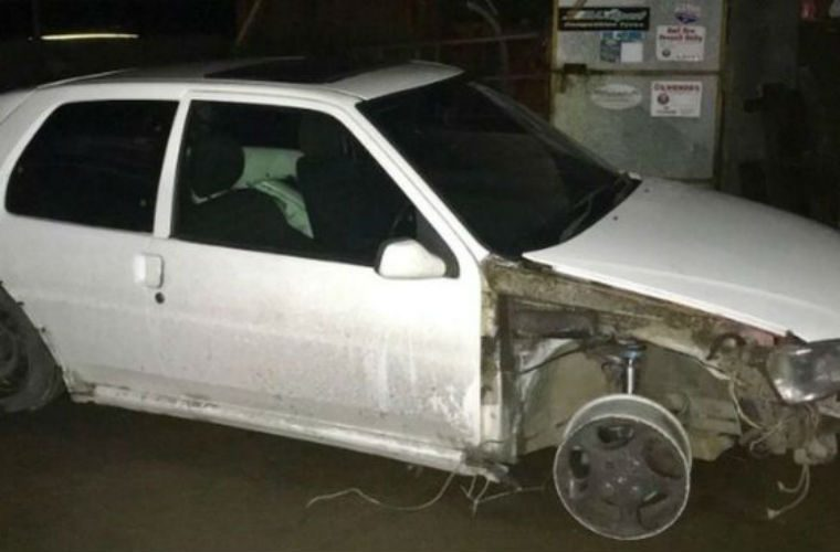 Reckless motorist caught driving without front tyre