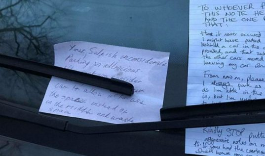 War of words: neighbour leaves 'selfish' driver note and gets a two-sided A4 reply