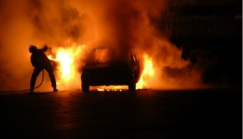 C-Class driver narrowly escapes injury moments before car went up in flames