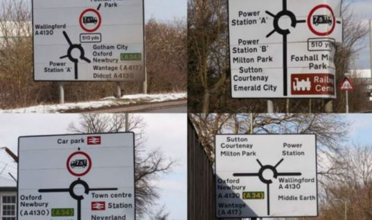 Narnia and Middle Earth removed from road signage