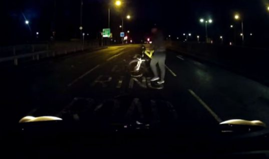 "Video: dash cam footage foils cyclist ""crash for cash"" attempt"