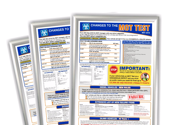 """Changes to the MOT test"" informative poster available from Prosol"