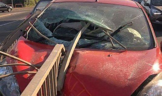 Lucky escape as driver walks away despite 6ft metal barrier spearing through windscreen