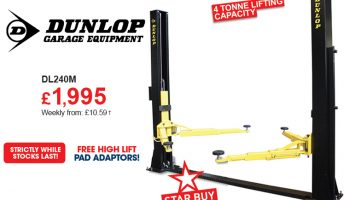Dunlop DL240M two post electro-hydraulic lift at The Parts Alliance