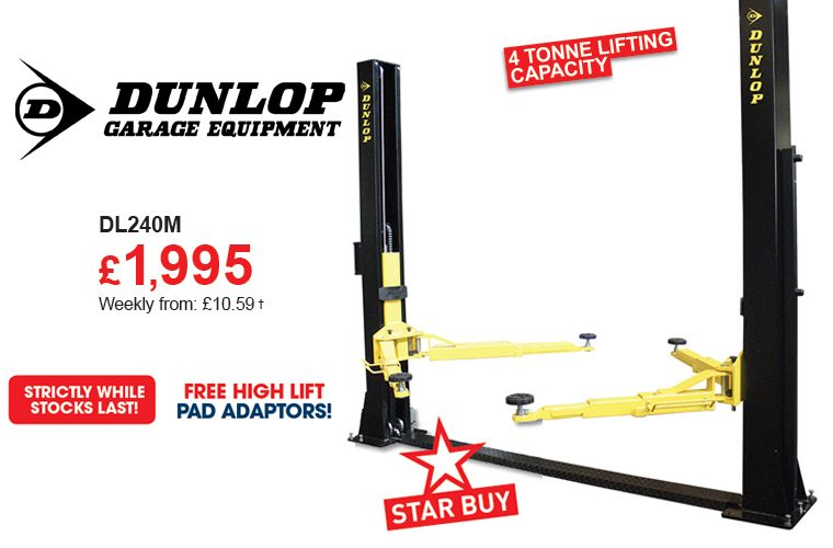 The Parts Alliance star buy on Dunlop DL240M two-post electro-hydraulic lift
