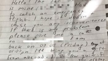 Residents rage over kindly worded note left by airport parker