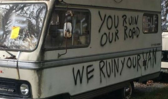 "Legally parked vans told to ""go away"" in graffiti messages"