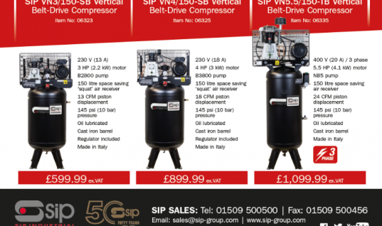 Vertical space-saving compressors from SIP Industrial Products