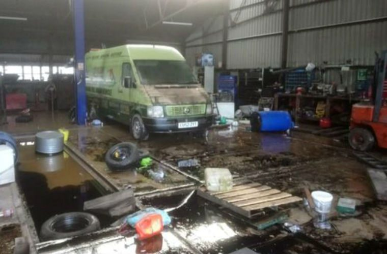 Carmarthen garage faces Storm Callum aftermath