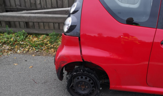 Battered Citroen driver too high to realise he'd lost a tyre