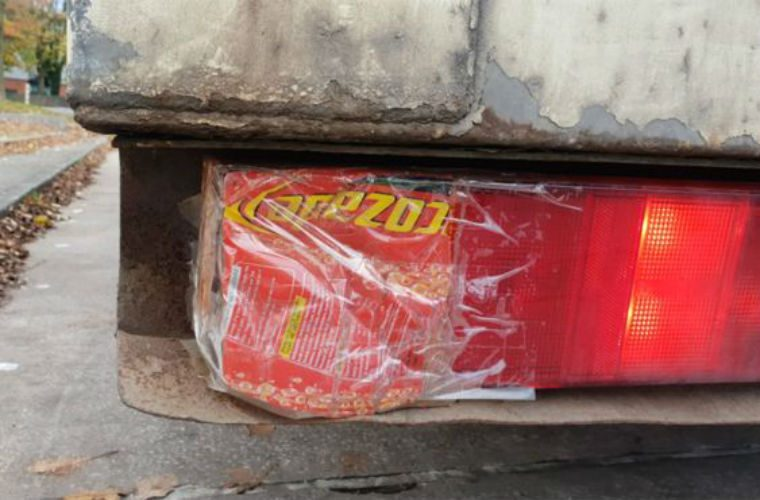Police stop lorry with Lucozade bottle indicator light bodge