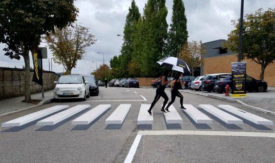 3D pedestrian crossings educate drivers on importance of replacing worn shocks