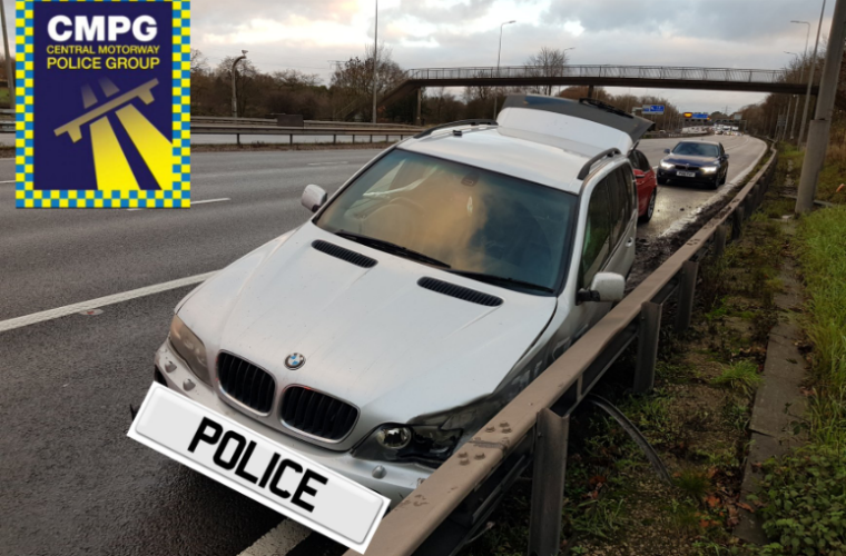 Police stop BMW X5 on motorway for driving with two missing tyres