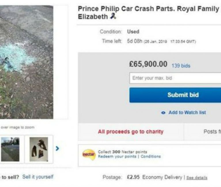 Prince Phillip car crash parts removed from eBay
