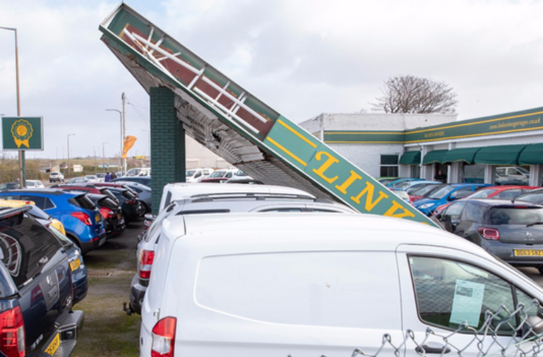Merseyside dealership roof collapses in strong winds